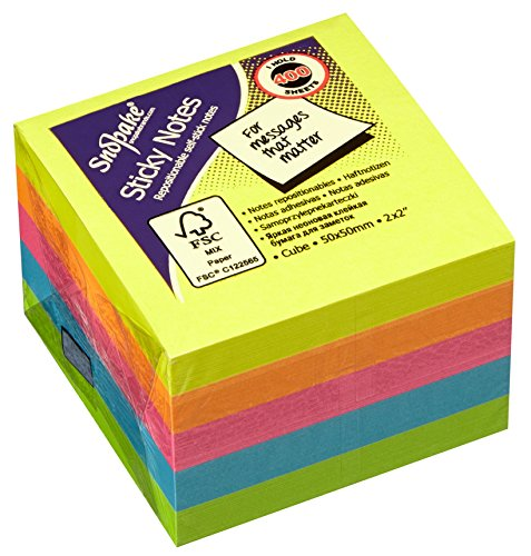 Snopake - Cubo di foglietti promemoria con retro adesivo, 51 x 51 mm, 24 pezzi, colori fluorescenti assortiti