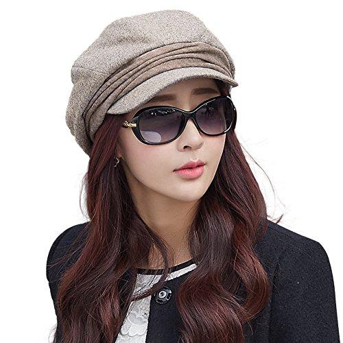 SIGGI beige Baumwolle warme Zeitungsjunge Barett Mütze für Damen Cabbie Hut mit Visor Schirmmütze Baskenmütze
