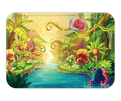 Icndpshorts Doormat Creative Illustration and Innovative Art Fairy River with Snail. Realistic Fantastic Cartoon Style Artwork Scene, Wallpaper, Story Background, Card Design (Card Stories Green)