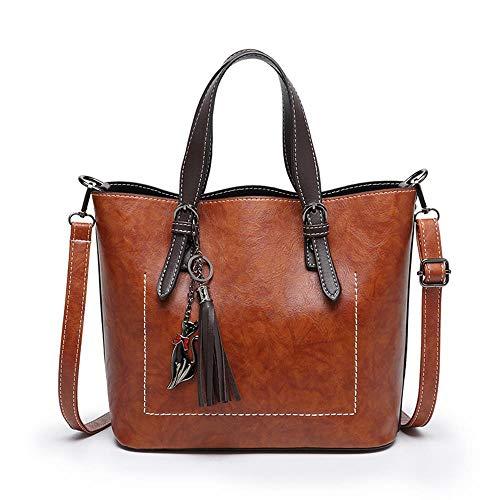 NLJ-lug Mode Einzelne Umhängetasche Einfache Quaste Geschlungen Einkaufstasche Retro Handtasche