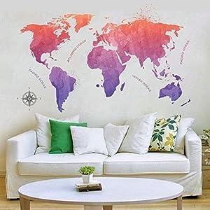 Wallpark Artístico Chino Estilo Rojo Púrpura Pintura de Tinta Mapa del Mundo Desmontable Pegatinas de Pared Etiqueta de la Pared, Sala Dormitorio Hogar Decorativas Adhesivas DIY Arte Murales