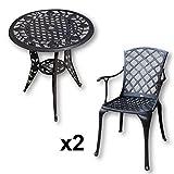 Lazy Susan - ROSE Bistrotisch mit 2 Stühlen - Rundes Gartenmöbel Set aus Metall, Antik Bronze (EMMA Stühle)