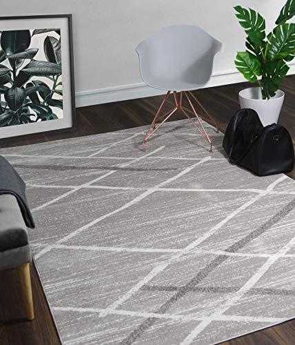 A2Z Tapis Contemporain Zone Tapis Moderne Blanc Salvador 9957, Gris, 160x230 cm - 5'3\