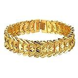 Onefeart Vergoldet Armband Für Männer Junge Decorative Pattern Chunky Kette Armband 21CM Gold Anti-Allergie