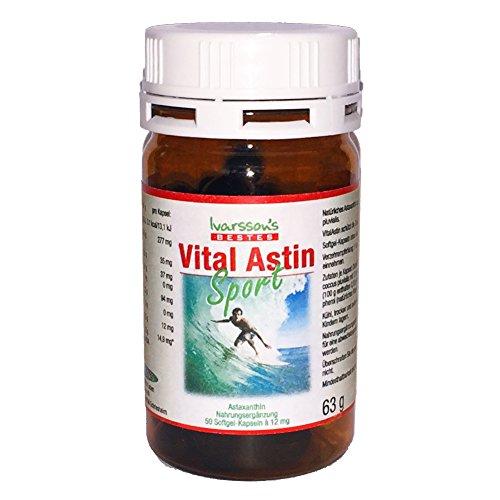 Astaxanthin 12 mg - 50 Kapseln - versandkostenfrei - NEUE FORMEL VitalAstin SPORT mit natürlichem Astaxanthin - jetzt noch stärker mit Zink und Vitamin B1 - Das Original Ivarssons VitalAstin - besser als Kapseln mit 4 , 6 , 8 oder 10 mg Astaxanthin - gleichwertig wie BioAstin 12 mg