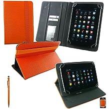Emartbuy® Miia Tab MT-700 7 Pollice Tablet Universal Range Arancione 3D Cube Multi Angolo Esecutivo Folio Wallet Case Cover Con Card Slots + Arancione Doppia Funzione Stilo
