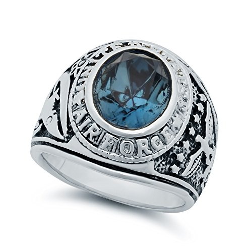 mens-thick-rhodium-plated-blue-oval-cut-cz-us-air-force-ring-size-10