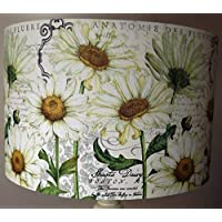 Daisy Lampshade, vintage, shabby chic, cream white,old script,