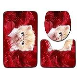 KaO0YaN-Rugs Combo Bad-Set WC-Matte ohne Öffnung für Hänge-WC 3D Kätzchen Muster Bad WC DREI Stück Set 45 * 75cm Bodenmatte, H