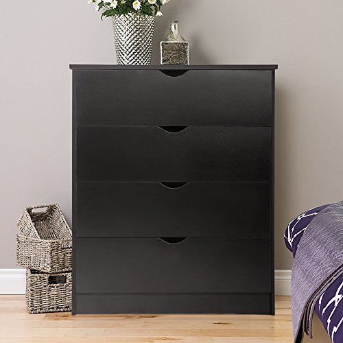Chest of 4 Drawers Bedroom Storage Furniture, Wooden, Black