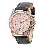 David Lenox Rose Gold Damen Uhr mit Lederband schwarz Michael Kors Stil dl0221