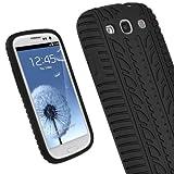 igadgitz Nero Pneumatico Custodia Silicone Skin Case Cover Protezione per Samsung Galaxy S3 III i9300 Android Smartphone