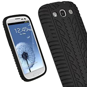 iGadgitz Black Silicone Skin Case Cover with Tyre Tread Design for Samsung Galaxy S3 III i9300