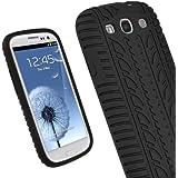 igadgitz Negro Case Neumático Tyre Silicona Funda Cover Carcasa para Samsung Galaxy S3 III i9300 Android Smartphone + Protector de pantalla