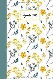 Agenda 2020: Agenda de Janvier à Décembre 2020, Semainier simple & graphique, série Fleurie, Motif rétro jaune et vert