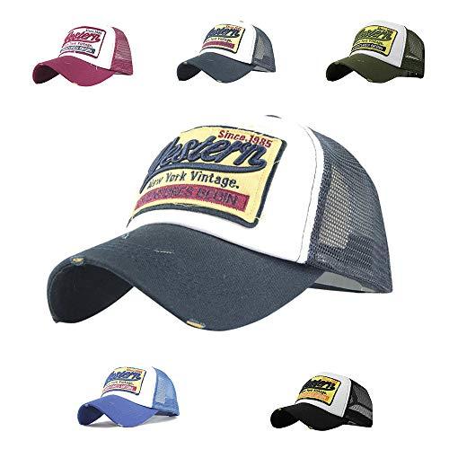 LYworld Gorras Beisbol Deportes Unisex Gorra de Trucker Sombrero de Vintage Gorras de béisbol de Hip Hop Bordada de Malla Sombreros para Hombres Mujeres (Armada)