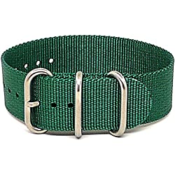 DaLuca Ballistic Nylon NATO 1 Piece Watch Strap - Green (Matte Buckle) : 20mm