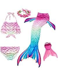 Cola de Sirena para Natación Traje de Baño 5pcs Mermaid Bikini Establece para Niña Disfraz de Sirena Princesa Cosplay Conjuntos con Diadema de Flores y Monofín