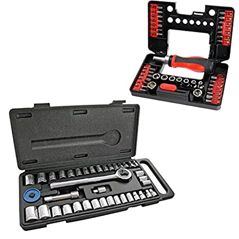 SPARES2GO 40 Piece Mechanics Socket Wrench Set 1/4