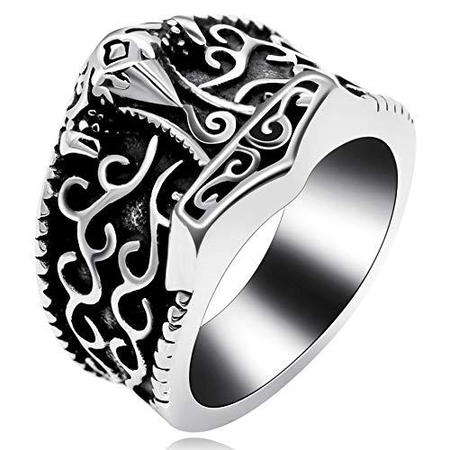 Uloveido Ancient Black Edelstahl Cloud Hammer Ring, Gothic Vintage Bike Ringe Wide Band Geburtstagsgeschenke für Männer Boy (Größe 65 (20.7)) (Ring Bike)