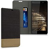 kwmobile Funda para Wiko Fever 4G - Case con tapa cover de tela con cuero sintético - Carcasa plegable antracita marrón