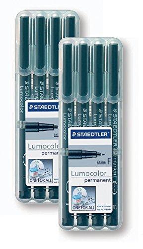 2 Boxen Staedtler 318-9WP4HZ Lumocolor permanent F Folienstift schwarz, 2x 4 Stück in aufstellbarer...