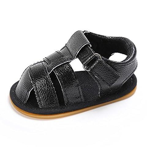 Rawdah Chaussures De Cage Sandales AntidéRapantes GarçOns Soft Sole Shoes (6~12mois, Noir)