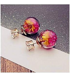 Real Flower Silver Mixed Flower Stud Earrings by Shrieking Violet  ME21