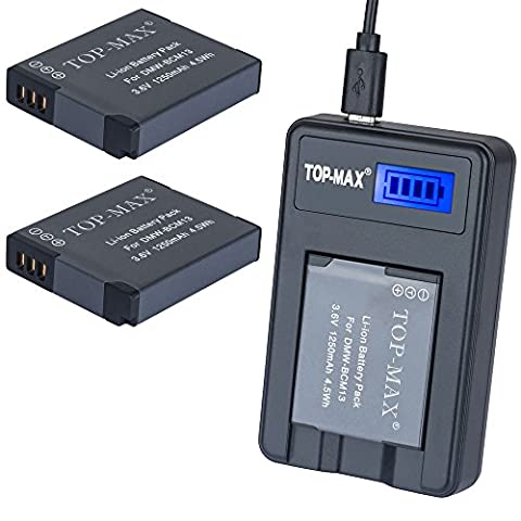 TOP-MAX® DMW-BCM13 Battery (2-Pack) and Portable Micro USB Charger kit for Panasonic DMW-BCM13, DMW-BCM13E, DMW-BCM13PP and Panasonic Lumix DMC-FT5, DMC-LZ40,DMC-TS5, DMC-TZ37, DMC-TZ40, DMC-TZ41, DMC-TZ55,DMC-TZ60,DMC-ZS27, DMC-ZS30,DMC-ZS35,DMC-ZS40,DMC-ZS50