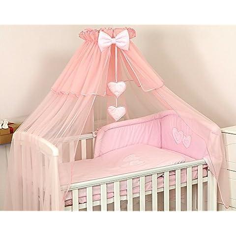 DE LUJO cuna bebé/CAMA CON DOSEL cortina-BIG485cm + SOPORTE - Rosa, raso