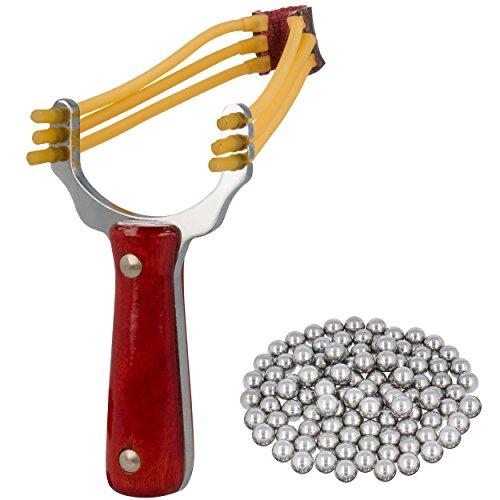 Oramics Steinschleuder aus Stahl Sportschleuder mit Holzgriff inkl. 100 Stahlkugeln Munition (Profi-Steinschleuder Brown)