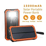 Solar Chargers 15000mAh, Soluser Portable Dual USB Solar Battery Fast Charger External Battery