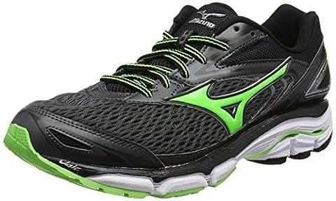 Mizuno Wave Inspire 13, Chaussures de Running Entrainement Homme, Noir (Dark Shadow/Green Gecko/Black), 43 EU