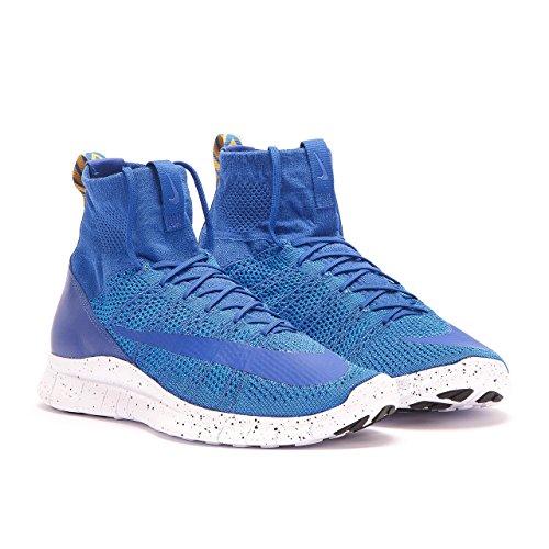 Nike Free Flyknit Mercurial, Chaussures de Sport Homme Bleu - Azul (Azul (Game Royal/White-Pht Bl-Gld Ld))