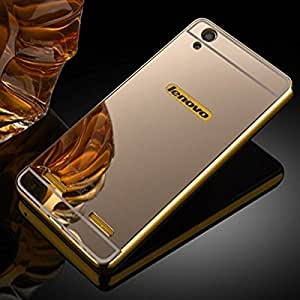 3in1 Luxury Metal Bumper Acrylic Mirror Back Cover Case for lenovo a6000 -(Gold) With Free Tpu Silicon Back Cover & OTG