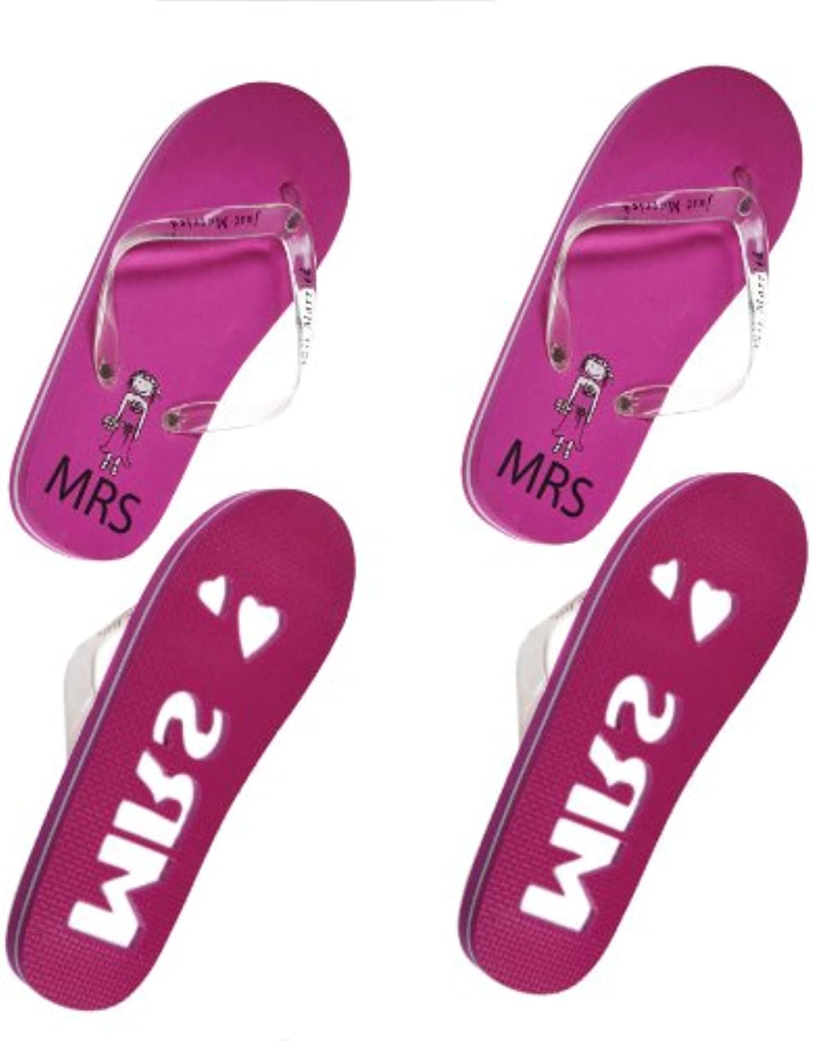 ca476e6ef1e3f0 Mrs       Mrs Pink Same Sex Theme Honeymoon or Just Married Flip Flops Set  - (set of 2) (One size UK 6-8) Parent B00D7NPPCK 7575e2