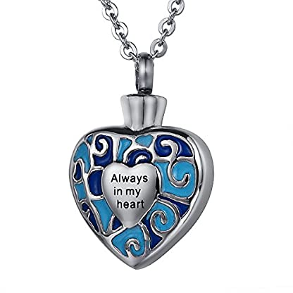 ZCBRISK Always in My Heart Flower Cremation Ashes Locket Necklace Urns Pendant Memorial Keepsake Jewelry 5