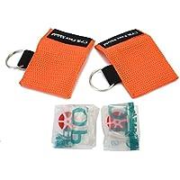 2 x Mascarilla RCP Máscara Emergencia Primeros Auxilios con Llavero Reanimación (Naranja)