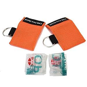 Pinzhi® 2 Stücke CPR Masken mit Schlüsselanhänger für Mund zu Mund Schutz Beatmungstuch Hilfe