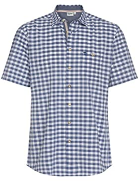 Distler Modisches Herren Trachten Hemd - Kurzarm Blaues Kurzarmhemd Bestickt Kariert Herrenhemd Trachtenmode Regular...