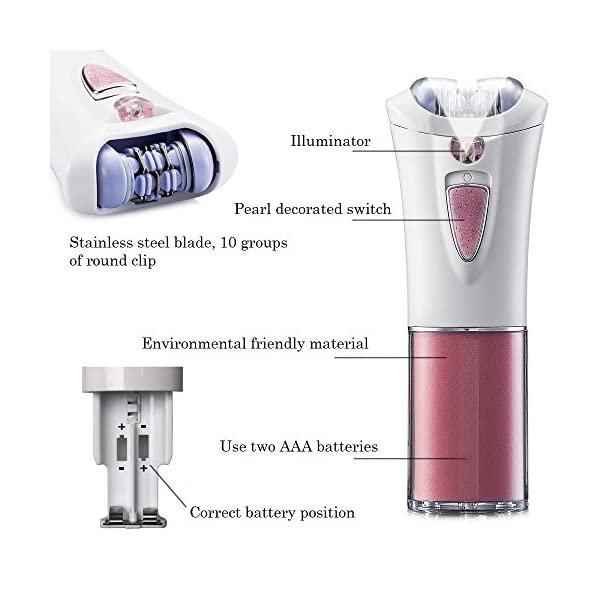 Lorcoo Cordless Lady Epilator Smooth And Silky Full Body Personal Care Hair Removal Trimmer Battery Powered Shaver For Woman