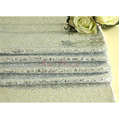 3,7m Argento Paillettes Tessuto DIY ceremomny sfondo tessuto halloween Guide da tavolo/Tovaglia/Wedding Dress Tessuto D ¨ ¦