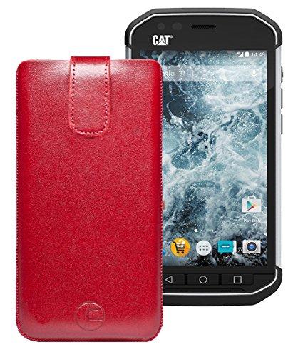 Favory Tasche Leder Etui für DOOGEE S60 | DOOGEE S60 lite | ECHT Ledertasche Hülle Schutzhülle (Lasche mit Rückzugfunktion) rot