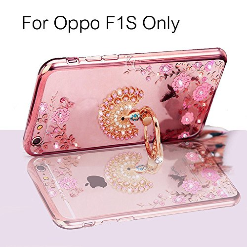 KC Peacock Ring Stand Case with Diamond Crystals Printed Flowers, Soft Transparent Back cover for Oppo F1S - Rose Gold + Pink