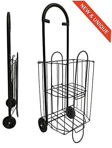 Metall-Einkaufswagen 47L Bo Time Doppelstockkorb Faltbar - Kostenlose Handtasche
