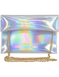 Monique Women Colorful Holographic Clutch Handbag Purse Envelope Bag For Shopping Evening Party Travel Silver