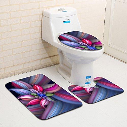 LYM &Badezimmer Teppichset 3 Stück Badematte, Podest Mat & WC Deckel Badezimmer Set dreiteiliges WC-Sitzpolster (Farbe : #4)