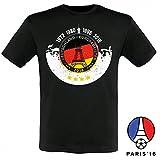 Deutschland Fussball Fanshirt T-Shirt zur EM 2016 für Männer und Frauen, Farbe:Männer schwarz;Größe:L