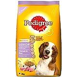 Pedigree Senior (7+ Years) Dry Dog Food, Chicken and Rice, 3kg Pack