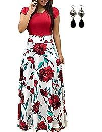 UUAISSO Sommerkleid Damen Lang mit Blüte Drucken Lang High Waist Elastische Strandkleider Maxikleider
